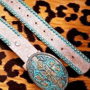 bebe Accessories - Bebe western leather crystal buckle belt